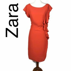 Zara ruffle shift dress size zip in orange